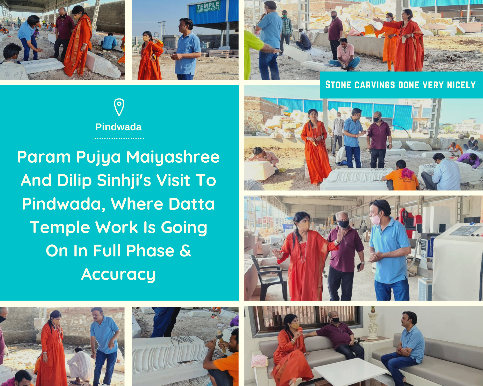 Param Pujya Maiyashree And Dilip Sinhji Visited Pindwada, Where Datta Temple Work Is Going On In Full Phase And Accuracy